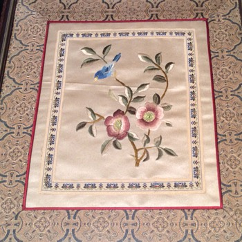 Antique Chinese  silk embroidered picture - Asian