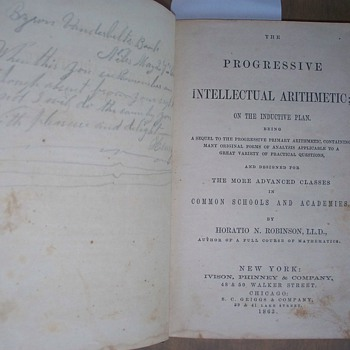 1863 Byron Vanderbilt's Arithmatic Book with Handwritten Poem - Books