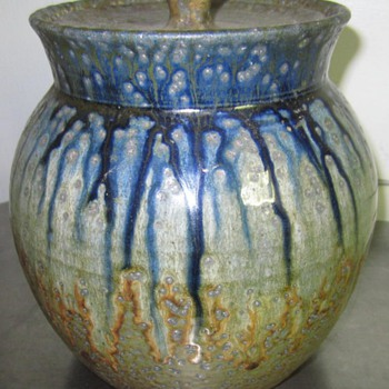 early stoneware pottery lidded jar 