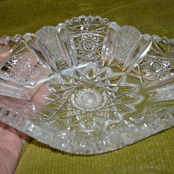 Hand cut lead crystal dish
