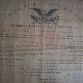 Certificate to my 3rd Great Grandfather, signed by Abraham Lincoln