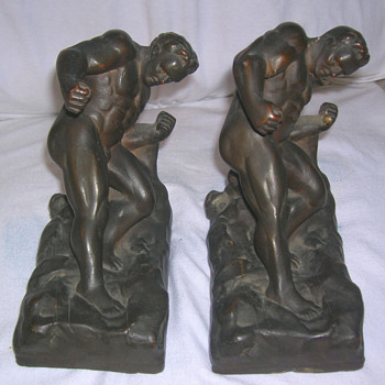 "Kathodian Bronze Works ""Gladiator"" Bookends Model #524, 1914-16"