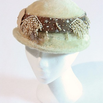 Frost Bros. Pillbox Style Hat with Pearl, Velvet, Rhinestone and Star Beads