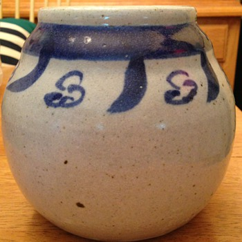 Salt glazed blue and white jar