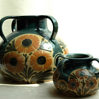 french art nouveau pottery vase by LEON ELCHINGER