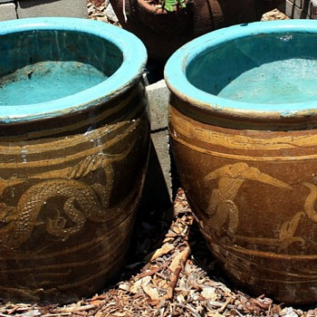 Two Large Chinese Dragon Pots