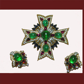 Trifari Jewels of India Maltese Cross and Earrings - Costume Jewelry