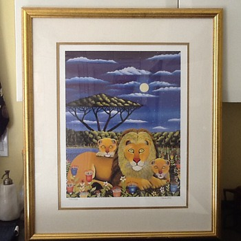 Whimiscal Lion Family Print - Animals