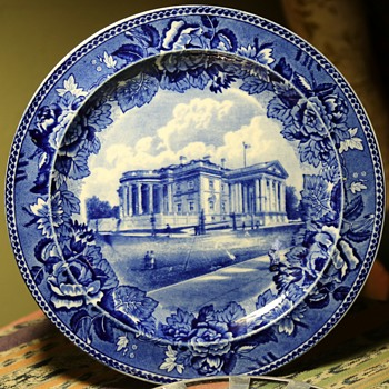 Blue and White Memorial Plate for the Memorial Continental Hall in Washington DC - 1905 - China and Dinnerware