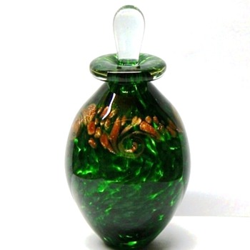 Studio Art Glass Bottle - Green & Gold - Signed R Mynatt 2011