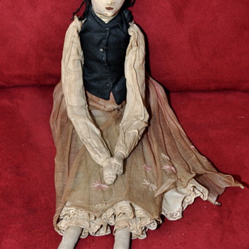 Old Leather Head Doll with Cloth Body