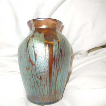 "Loetz vase I found, my first one ! It is about 5"" tall and very nice colors."