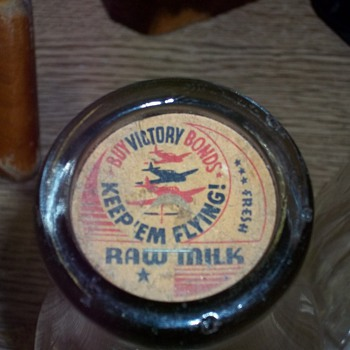 WW II MILK BOTTLE AND CAP