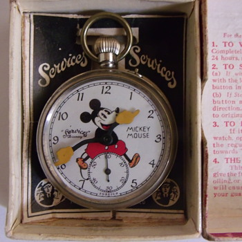 "Oldie...... Repost..... 1930's ""Services"" Mickey Mouse Pocket Watch - Pocket Watches"