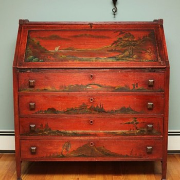 Mission Style Chinoiserie Desk c1910 - Furniture