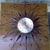 Mid Century Metal Sunburst Clock by Elgin