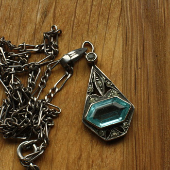 Art Deco silver and blue stone pendant