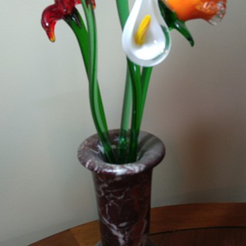 Glass flowers with stone vase - Art Glass