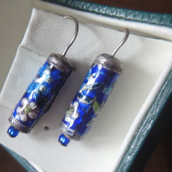 Chinese Silver cloisonné enameled earrings - Fine Jewelry