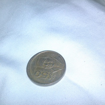 off-center 1986 juavarez 50 pesos   - World Coins