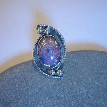 Mexican harlequin Glass Foil Opal Ring - Costume Jewelry