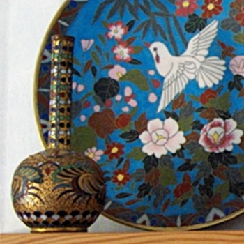 Rare Japanese Antique Cloisonne Style: Open Work Wire Enamel