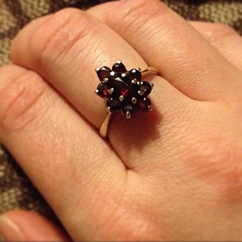 Antique garnet gold vermeil ring