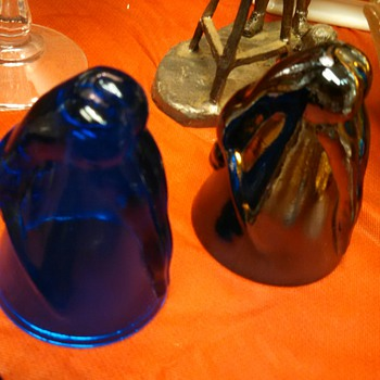 Bottoms Up! Cobalt Blue and Iridized Shot Glasses