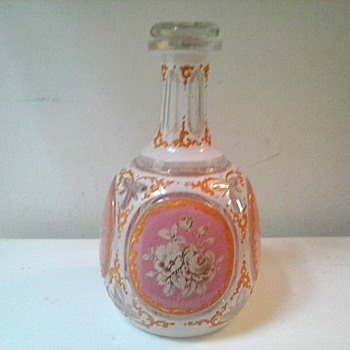 Pink & White Persian Enameled (?) Decanter With Gilt Floral Panels /Moser-Lobmeyr Style/Circa 19th-20th Century