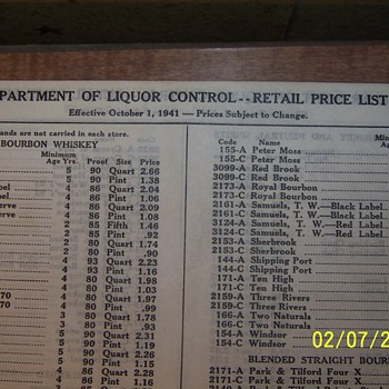 Ohio Department of Liquor Control 1941 Price List - Breweriana