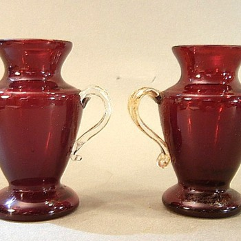 KRALIK RED LUSTRE MINIATURES, MARKED - Art Glass