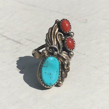 Native American Sterling Silver w/ Turquoise Stone Inlay