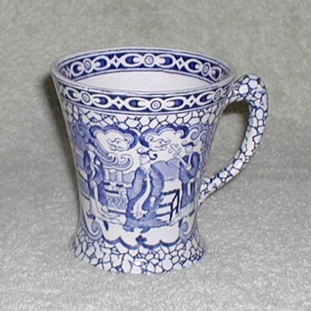 William Adams England Blue &amp; White Chinese Bird Mug