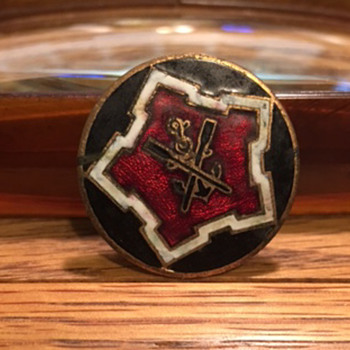 WWII Black Anchor Red and White Round Enamel Pin