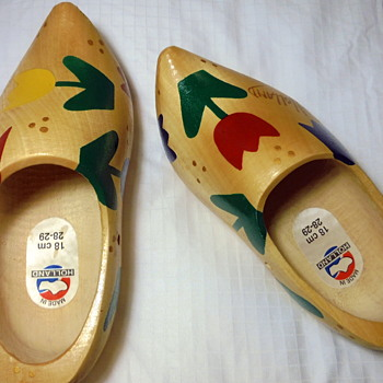 Holland made Wooden Shoes Yard Sale Find with teeny 'monogram' MS