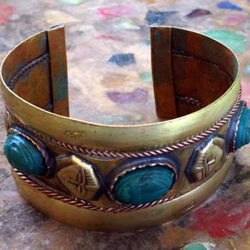 Sphinx & Scarab Brass Cuff Bracelet - Fine Jewelry