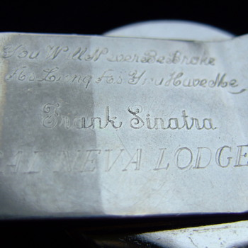 "Silver Dollar Money Clip inscribed on the back, ""you'll never be broke as long as you have me. Frank Sinatra, Cal Neva Lodge"