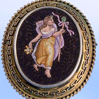 Rare very old Antique Roman Mid 1800's Micro Mosaic brooch/pendant depicting Goddess Maiden Mythology  - Fine Jewelry