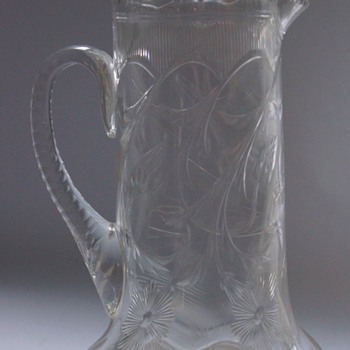 Art Noveau Intaglio Cut Jug - Art Glass