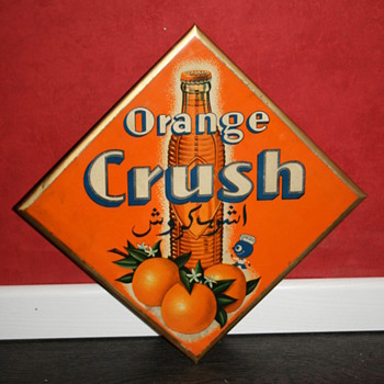 orange crush celluloid sign - Advertising