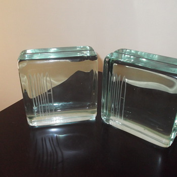 Glass block bookends - Mid Century Modern