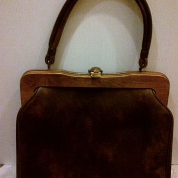 Vintage vinyl handbag with wooden frame
