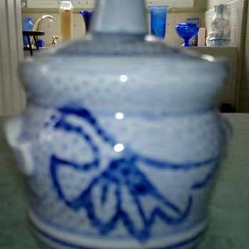 Small Asian   jar with top / - Asian