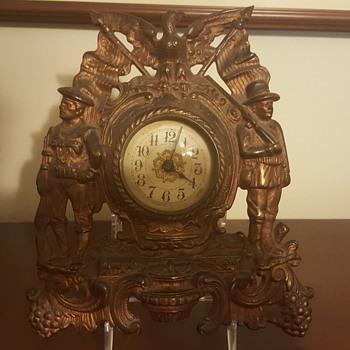 Bronze Mantel Clock.. American flag/Minutemen