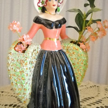 Vintage Lady Planter - Art Pottery
