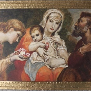 "Franz Hofstötter (1871-1958) original oil painting, ""The Holy Family"", 1957 - Visual Art"