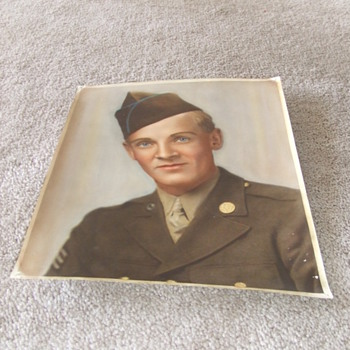 WW2 soldier photograph with painted coloration - Military and Wartime