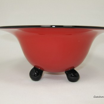 Loetz Red Tango Glass Ball Footed Bowl ca. 1905 - 1920 - Art Glass