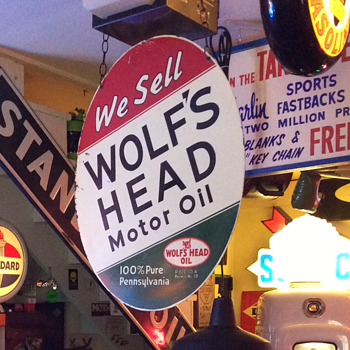 WOLF'S HEAD Motor Oil Double-sided Tin Sign - Petroliana