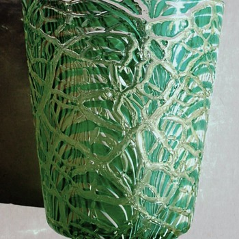 Durand Green & White Moorish Crackle Vase c.1925.